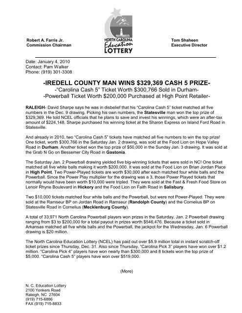 iredell county man wins $329369 cash 5 prize - North