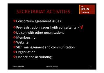 SECRETARIAT ACTIVITIES - The Iron Platform