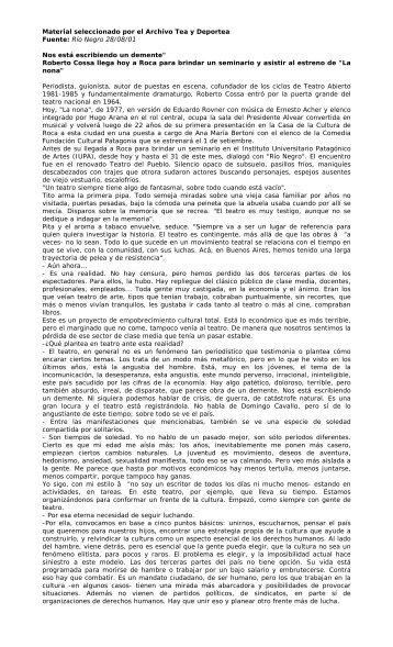 Fuente: Río Negro 28/08/01 - Winisisonline.com.ar