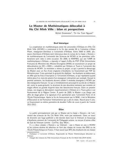 Le Master de Mathématiques délocalisé à Ho Chi Minh Ville, M ...