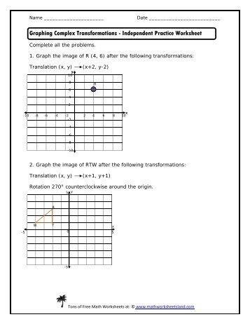 Identifying Transformations Worksheet It1 12 13 Answerspdf