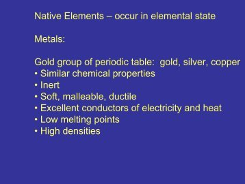 Native Elements, Sulfides, Halides, Sulfates - Faculty web pages