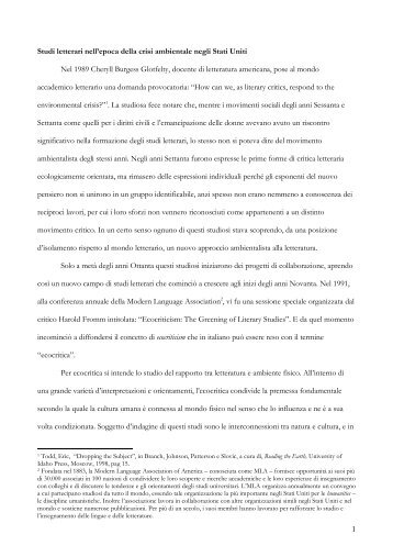Studi letterari nell'epoca della crisi ambientale ... - Paola Carbone
