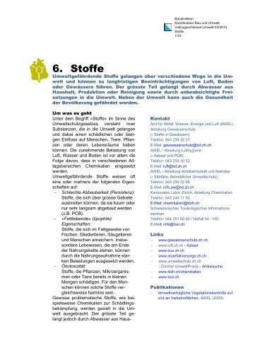 6 Stoffe - Koordinationsstelle für Umweltschutz - Kanton Zürich
