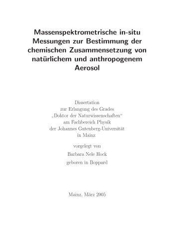 Massenspektrometrische in-situ Messungen zur Bestimmung der ...
