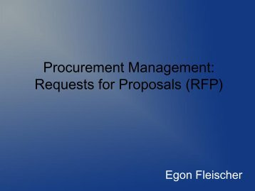 Procurement Management: Requests for Proposals (RFP) - Uhlberg ...