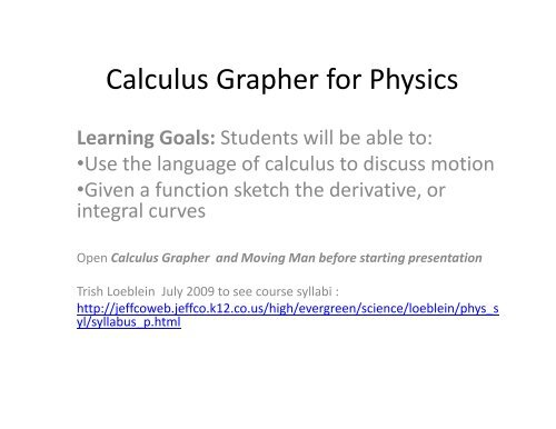 clicker questions Calculus Grapher for Physics pdf - PhET