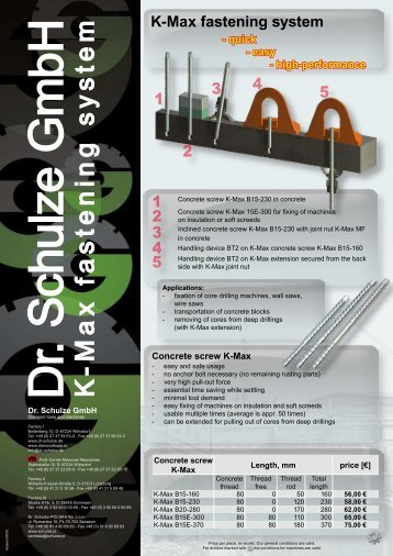 K -M a x fa s te n in g s y s te m - Dr. Schulze GmbH