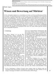 Wissen und Bewertung auf Märkten - MPIfG