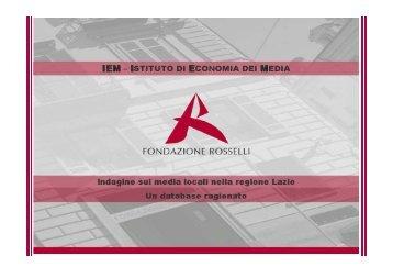 INDAGINE SUI MEDIA LOCALI NELLA REGIONE ... - Corecom Lazio
