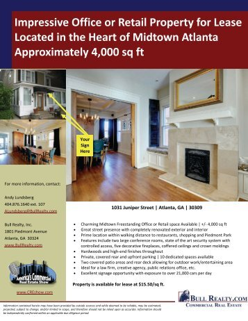 Impressive Midtown Office or Retail Space for Lease - Bull Realty