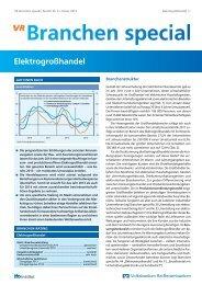 Branchen Special Nr. 3: Elektrogroßhandel - Volksbank Stuttgart eG
