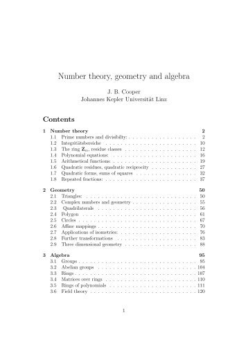 Number theory, geometry and algebra - Dynamics-approx.jku.at