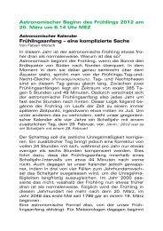 Astronomischer Beginn des Frühlings 2012 am 20 ... - Rudolf Weber