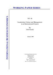 working paper series - Department of Business and Management