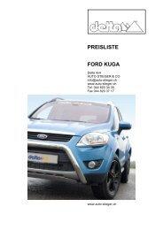 PREISLISTE FORD KUGA - Auto-Stieger