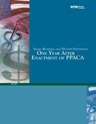One Year After Enactment of PPACA - NFIB