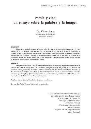 Poesía y cine: un ensayo sobre la palabra y la imagen - Grupo.us.es