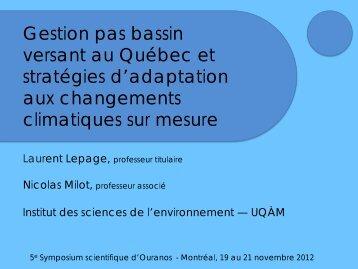 Gestion pas bassin versant au Québec et stratégies d ... - Ouranos