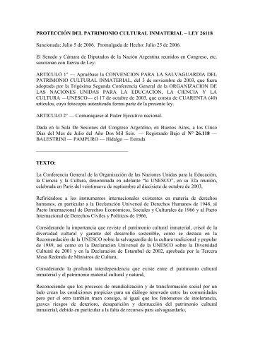 Ley 26118 Patrimonio Intangible.pdf - Atlas Catamarca