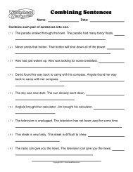 Sentence Combining Worksheet 2
