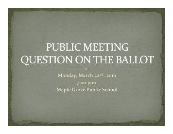 Public Meeting - Presentation - the Township of Lanark Highlands