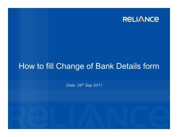 How to fill Change of Bank Details form - Reliance Mutual Fund