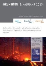 NEUHEITEN 2. HALBJAHR 2013 - Gunter Narr Verlag/A. Francke ...