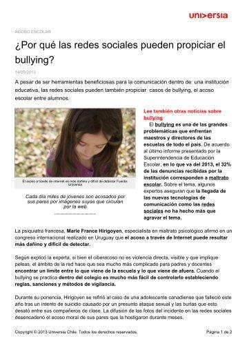 ¿Por qué las redes sociales pueden propiciar el bullying? - Noticias ...