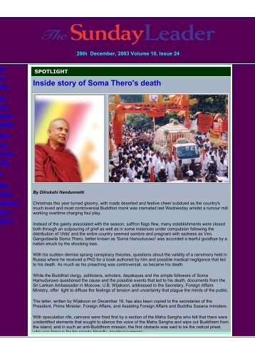 Inside story of Soma Thero's death