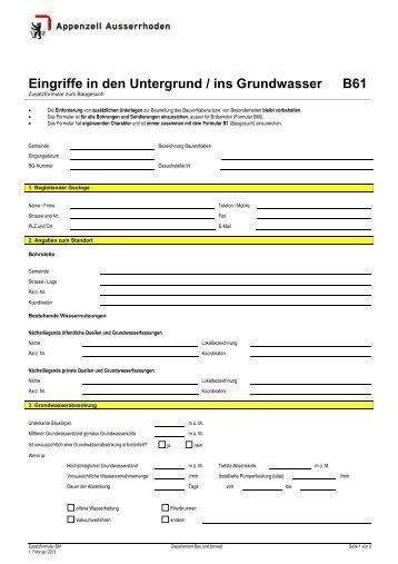 Eingriffe in den Untergrund / ins Grundwasser B61 - Walzenhausen
