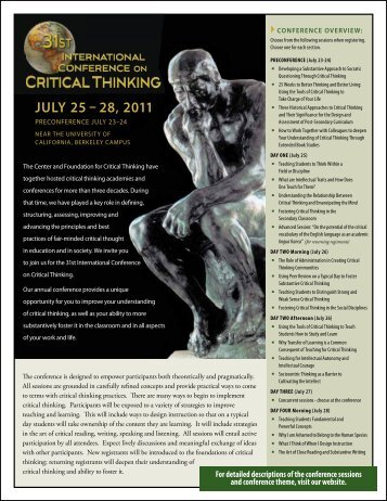 JULY 25 – 28, 2011 - The Critical Thinking Community