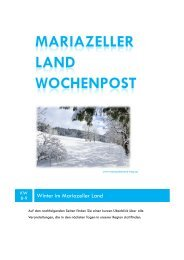 Mariazeller Land Wochenpost KW8-9 - Mariazellerland Blog