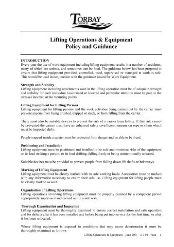Lifting Operations & Equipment Policy and Guidance