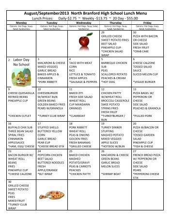 August/September2013 North Branford High School Lunch Menu