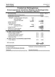 Protokoll der Wahlergebnisse - Gemeinde Hedingen