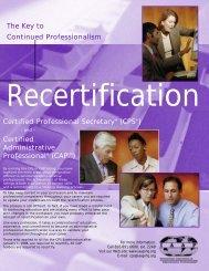 Recertification Brochure - IAAP Horseshoe Falls Chapter