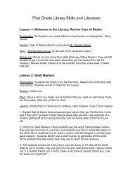 First Grade Library Skills and Literature - Roseburg Public Schools