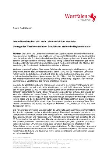 PM Unterrichtsmaterialien - Westfalen Initiative