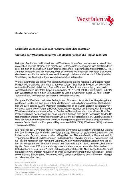 PM Unterrichtsmaterialien - Westfalen Initiative