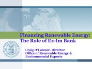 Financing Renewable Energy: The Role of Ex-Im Bank