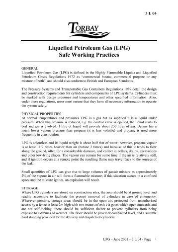 Liquefied Petroleum Gas (LPG) Safe Working Practices