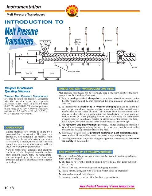 Melt Pressure Transducers (PDF)