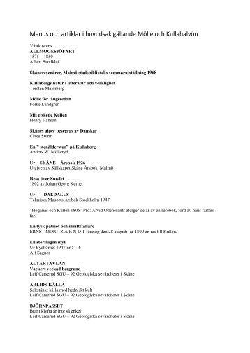Förteckning över manus och artiklar