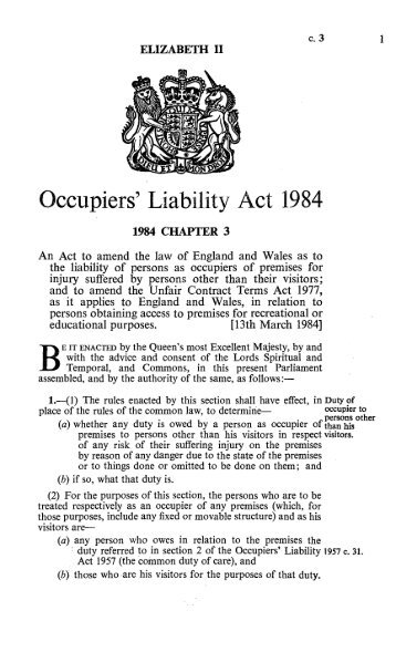 occupiers liability act essay Horsey & rackley: tort law chapter 11: answers to end-of-chapter questions 1 what are the main similarities and differences between the occupiers' liability act 1957 and the occupiers' liability act 1984.