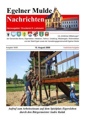 Egelner Nachrichten August 2009 - Teil 2 PDF ... - Druckerei Lohmann