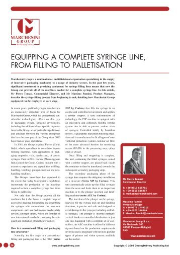 equipping a complete syringe line, from filling to - ONdrugDelivery