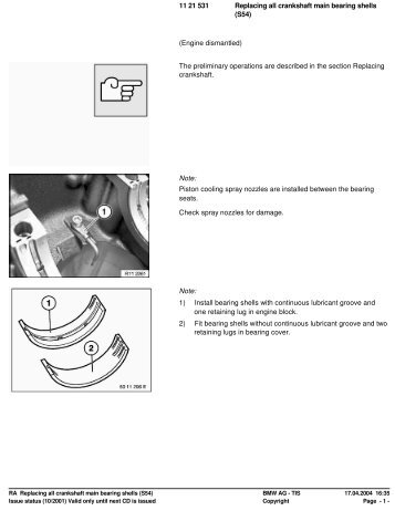 RA Replacing all crankshaft main bearing shells (S54) - Ad Kusters