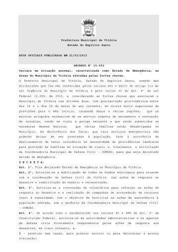 Atos Oficiais publicados em 21/03/2013 - Prefeitura de Vitória