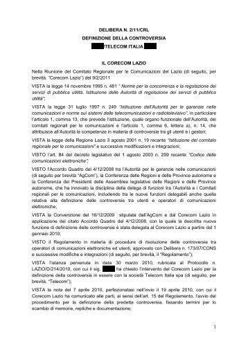 Delibera 02/11/CRL - Corecom Lazio